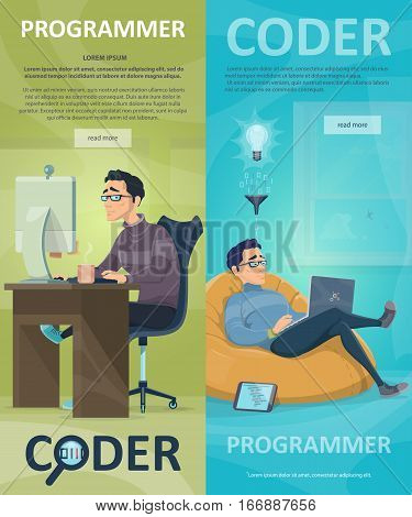 Technology programming vertical banners with working programmers coding new project at home vector illustration