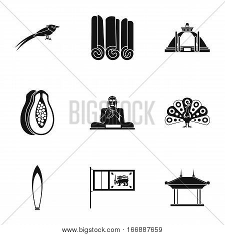Country Sri Lanka icons set. Simple illustration of 9 country Sri Lanka vector icons for web