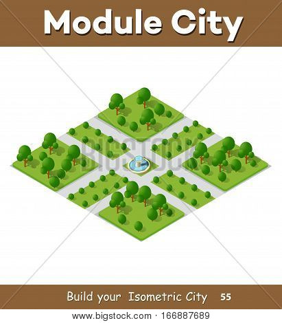 City streets intersection of the transport system. 3D isometric view from the roads and streets. Three-dimensional view of the town.