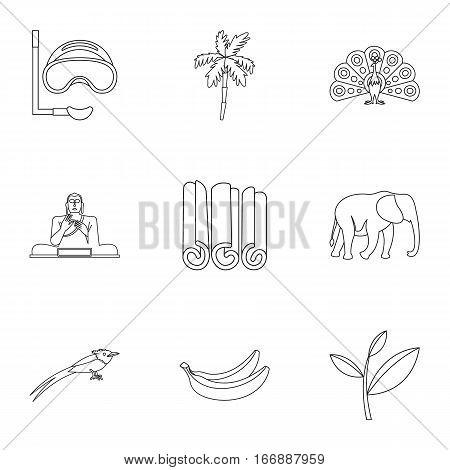 Country Sri Lanka icons set. Outline illustration of 9 country Sri Lanka vector icons for web