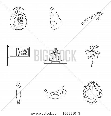 Holiday in Sri Lanka icons set. Outline illustration of 9 holiday in Sri Lanka vector icons for web