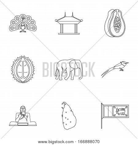 Tourism in Sri Lanka icons set. Outline illustration of 9 tourism in Sri Lanka vector icons for web