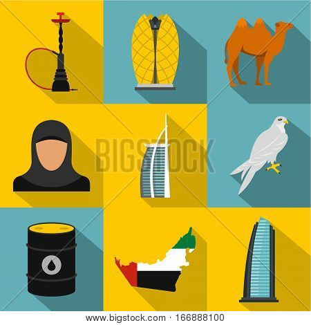 UAE icons set. Flat illustration of 9 UAE vector icons for web