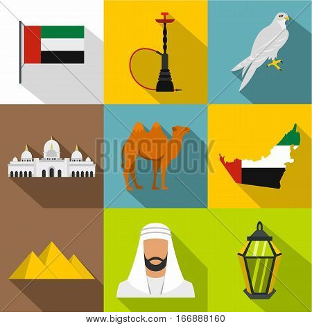Stay in UAE icons set. Flat illustration of 9 stay in UAE vector icons for web