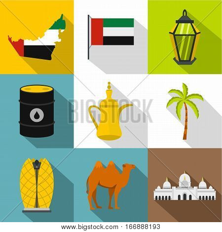State of UAE icons set. Flat illustration of 9 state of UAE vector icons for web