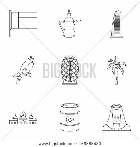 UAE icons set. Outline illustration of 9 UAE vector icons for web