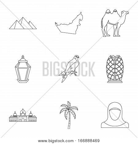 Stay in UAE icons set. Outline illustration of 9 stay in UAE vector icons for web