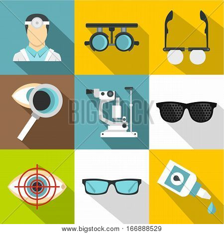 Vision icons set. Flat illustration of 9 vision vector icons for web
