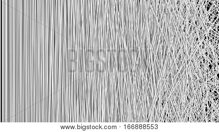 Abstract Background of a Web of Tangled White Strips in a Chaotic Pattern over Black. 3D illustrated.