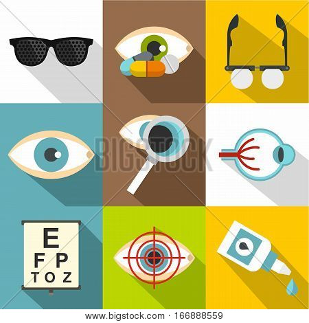 Ophthalmology icons set. Flat illustration of 9 ophthalmology vector icons for web