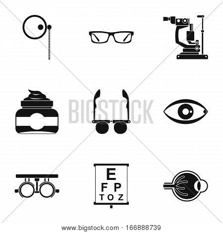 Treatment vision icons set. Simple illustration of 9 treatment vision vector icons for web