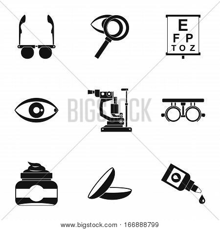 Eye exam icons set. Simple illustration of 9 eye exam vector icons for web