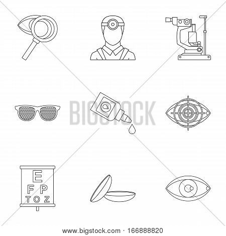 Vision icons set. Outline illustration of 9 vision vector icons for web