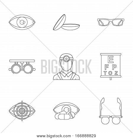 Ophthalmology icons set. Outline illustration of 9 ophthalmology vector icons for web