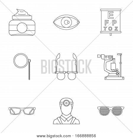 Eyes icons set. Outline illustration of 9 eyes vector icons for web
