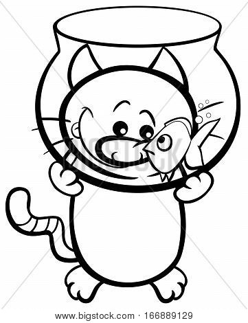 Cat And Fish Coloring Page