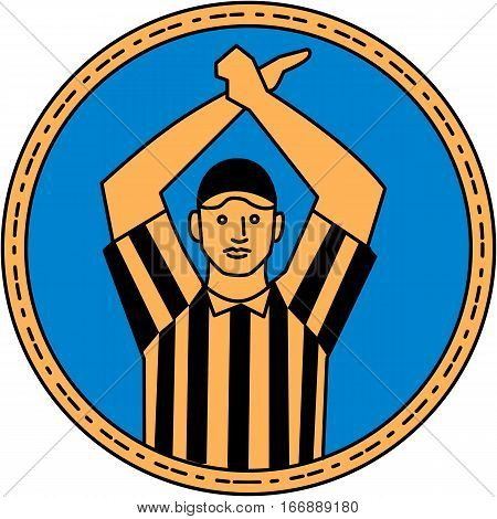 Mono line style illustration of an american football umpire doing a personal foul hand signal viewed from front set inside circle on isolated background.