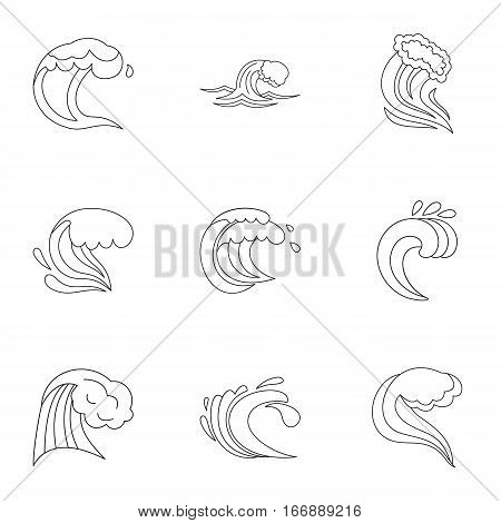 Wave icons set. Outline illustration of 9 wave vector icons for web