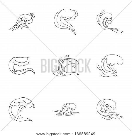 Tsunami icons set. Outline illustration of 9 tsunami vector icons for web