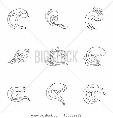 Tide icons set. Outline illustration of 9 tide vector icons for web