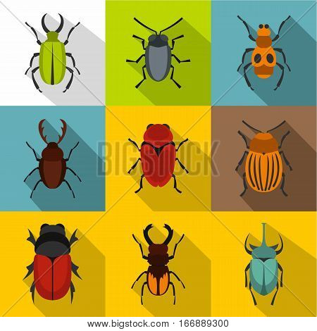 Bugs icons set. Flat illustration of 9 bugs vector icons for web