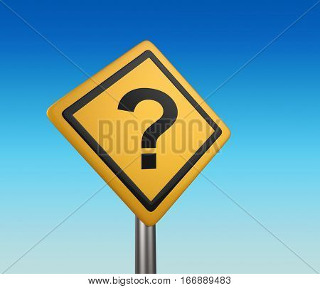 Yellow diamond shaped road sign with question mark. Uncertainty concept. 3D rendering.