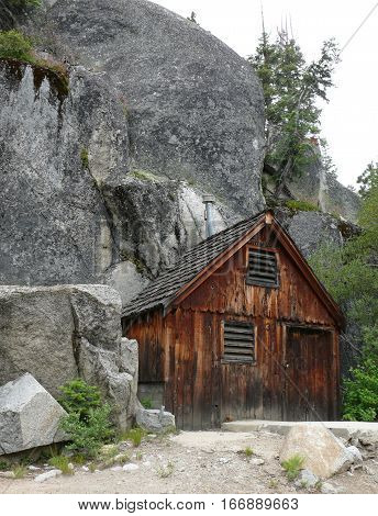 Wood Mining shack in California, Granite, Wood, Redwood,
