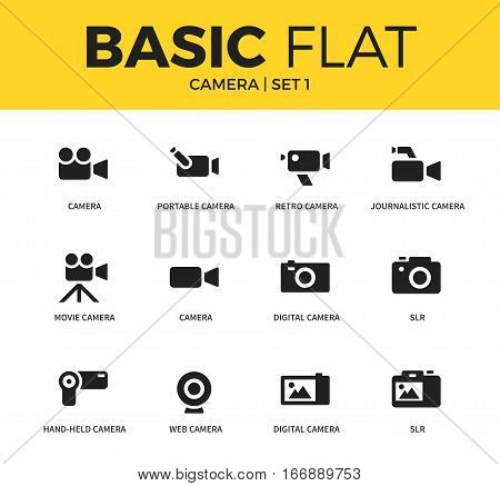 Basic set of movie camera, journalistic camera form and web camera form icons. Modern flat pictogram collection. Vector material design concept, web symbols and logo concept.