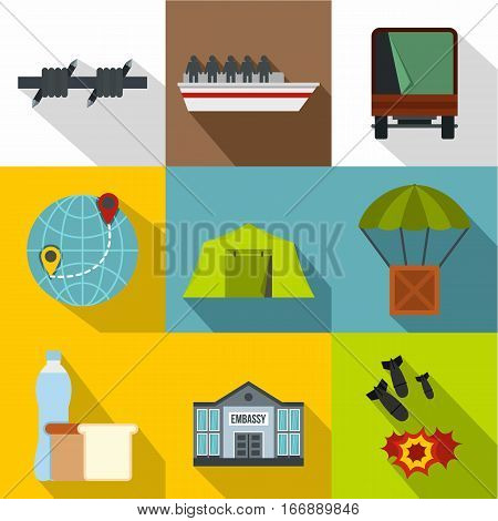 Refugees icons set. Flat illustration of 9 refugees vector icons for web