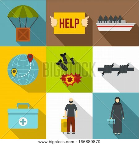 People fugitives icons set. Flat illustration of 9 people fugitives vector icons for web