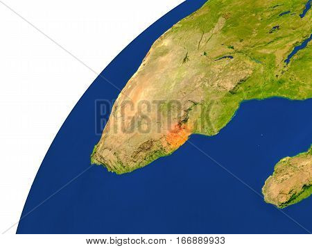 Country Of Swaziland Satellite View