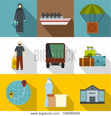 Refugee status icons set. Flat illustration of 9 refugee status vector icons for web