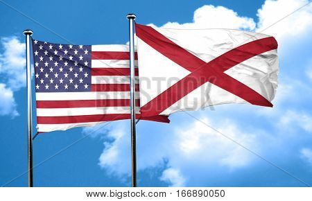 alabama with united states flag, 3D rending, combined flags