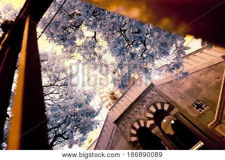 an infrared view of a building located at the 'cimitero monumentale' in milan