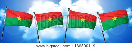 Burkina Faso flag, 3D rendering, on cloud background