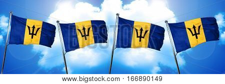 Barbados flag, 3D rendering, on cloud background