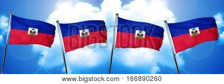 Haiti flag, 3D rendering, on cloud background