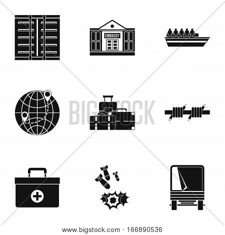 Refugee status icons set. Simple illustration of 9 refugee status vector icons for web