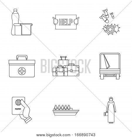 Refugees icons set. Outline illustration of 9 refugees vector icons for web