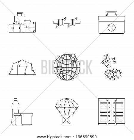 Left country icons set. Outline illustration of 9 left country vector icons for web