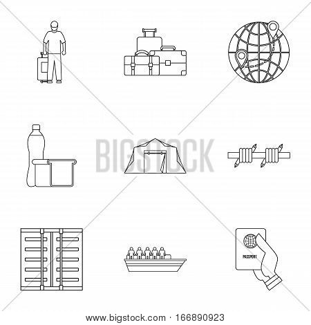 People refugees icons set. Outline illustration of 9 people refugees vector icons for web