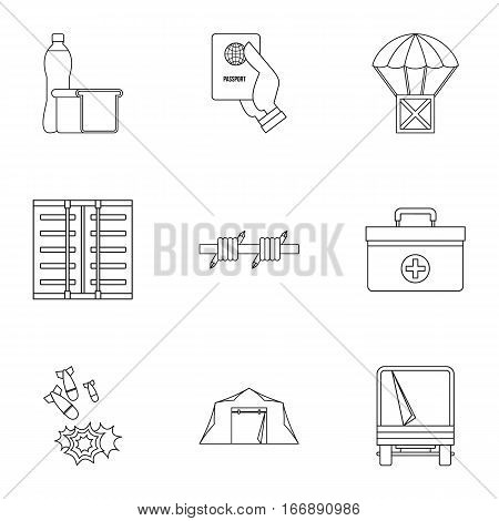 Refugee status icons set. Outline illustration of 9 refugee status vector icons for web