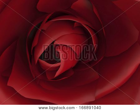 3D illustration zoom macro of red rose
