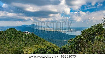 Panoramic view of blue sky sea and mountain seen from Cable Car viewpoint, Langkawi Island, Malaysia. Langkawi SkyCab is one of the major attractions in the island