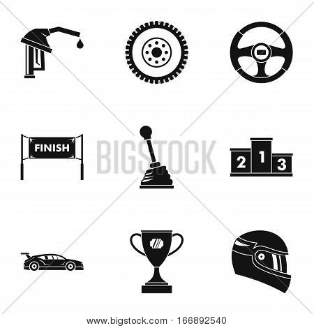 Speed race icons set. Simple illustration of 9 speed race vector icons for web