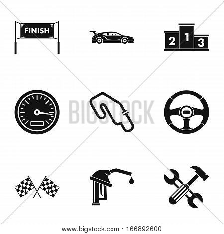 Speed cars icons set. Simple illustration of 9 speed cars vector icons for web