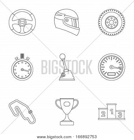 Speed cars icons set. Outline illustration of 9 speed cars vector icons for web