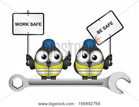 Comical construction workers with health and safety work safe be safe message perched on  a spanner isolated on white background