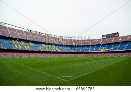 Barcelona Spain - September 22 2014: One of the stands displaying Barcelona's motto Mes que un club meaning More than a club. Camp Nou Barcelona Spain.