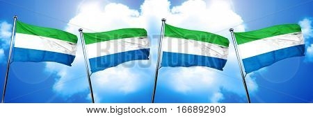 Sierra Leone flag, 3D rendering, on cloud background